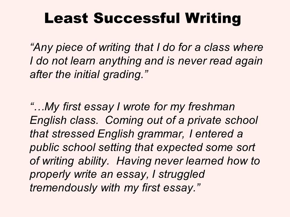 Least Successful Writing Any piece of writing that I do for a class where I do not learn anything and is never read again after the initial grading. …