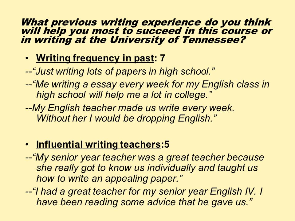 What previous writing experience do you think will help you most to succeed in this course or in writing at the University of Tennessee? Writing frequ