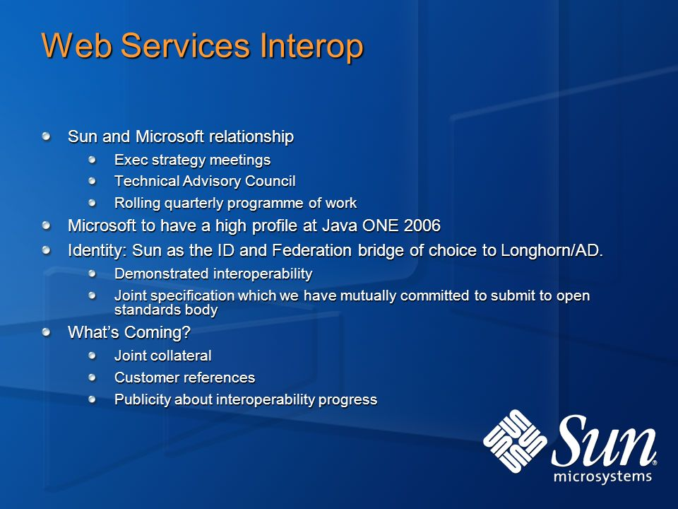 Web Services Interop Sun and Microsoft relationship Exec strategy meetings Technical Advisory Council Rolling quarterly programme of work Microsoft to