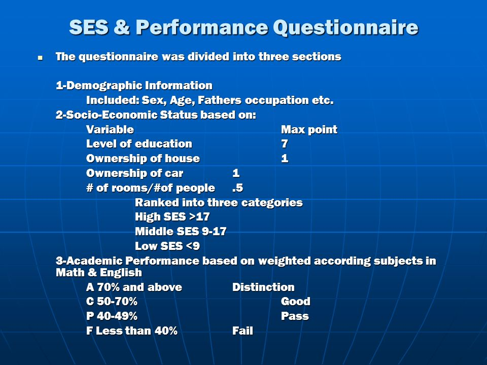 SES & Performance Questionnaire The questionnaire was divided into three sections The questionnaire was divided into three sections 1-Demographic Info