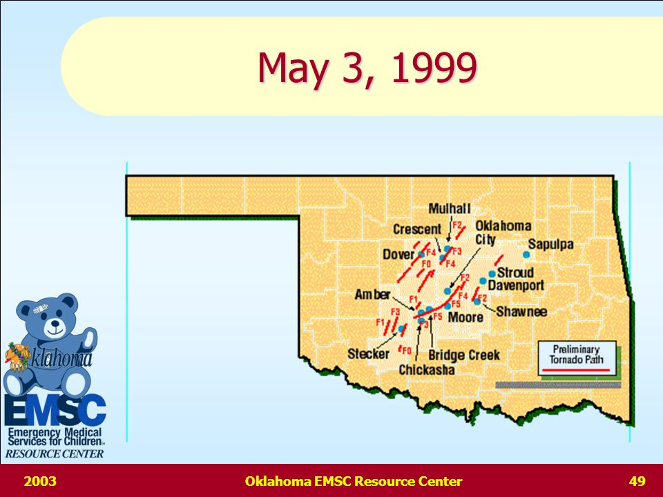 2003Oklahoma EMSC Resource Center48 Triage Problems contd Pediatric Multi-Casualty triage may be affected by the emotional states of providersPediatric Multi-Casualty triage may be affected by the emotional states of providers May be tendencies to upgrade triage categories out of compassion or lack of confidence in pediatric assessment & intervention skillsMay be tendencies to upgrade triage categories out of compassion or lack of confidence in pediatric assessment & intervention skills