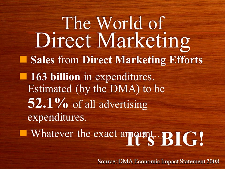 n Sales from Direct Marketing Efforts The World of Direct Marketing Its BIG.