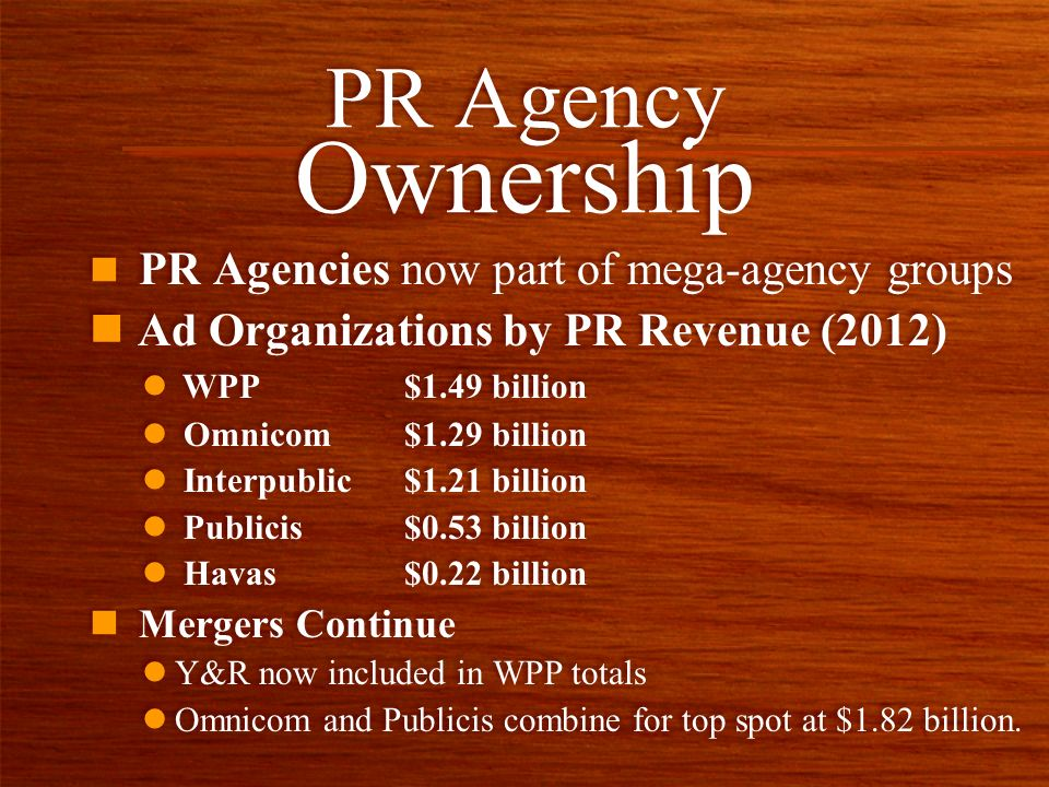 n PR Agencies now part of mega-agency groups n Ad Organizations by PR Revenue (2012) PR Agency Ownership l WPP $1.49 billion l Omnicom$1.29 billion l