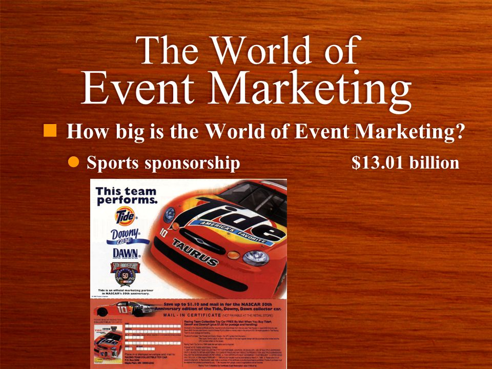 n How big is the World of Event Marketing? The World of Event Marketing l Sports sponsorship $13.01 billion