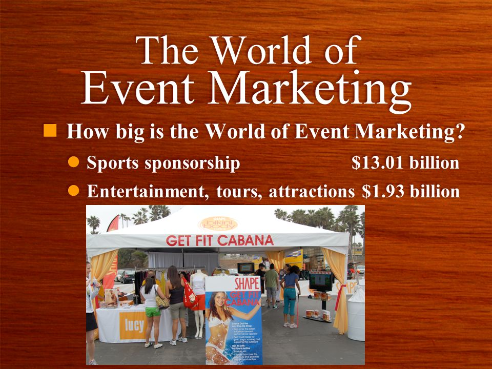 n How big is the World of Event Marketing? The World of Event Marketing l Entertainment, tours, attractions $1.93 billion l Sports sponsorship $13.01