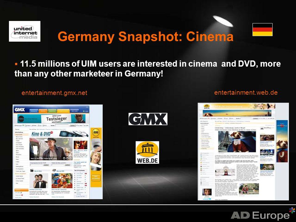 UK Snapshot: Cinema * Source: Comscore, Apr 08; TGI.net Wave 14 Orange.co.uk/film Web 7 out of 10 Orange UK users are cinema goers (4 million users).