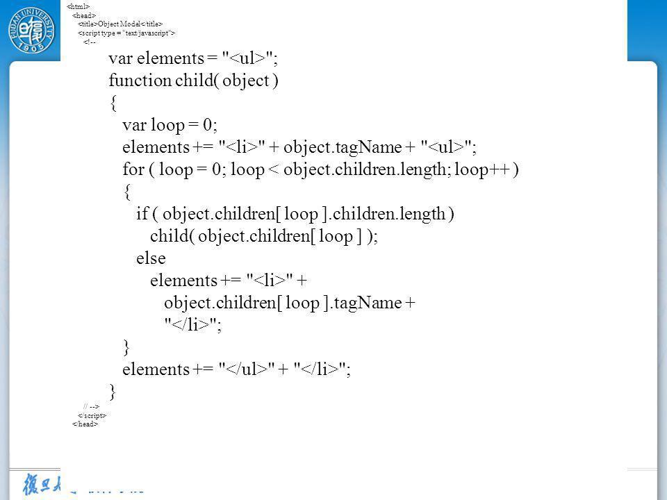 10 Object Model <!-- var elements = ; function child( object ) { var loop = 0; elements += + object.tagName + ; for ( loop = 0; loop < object.children.length; loop++ ) { if ( object.children[ loop ].children.length ) child( object.children[ loop ] ); else elements += + object.children[ loop ].tagName + ; } elements += + ; } // -->