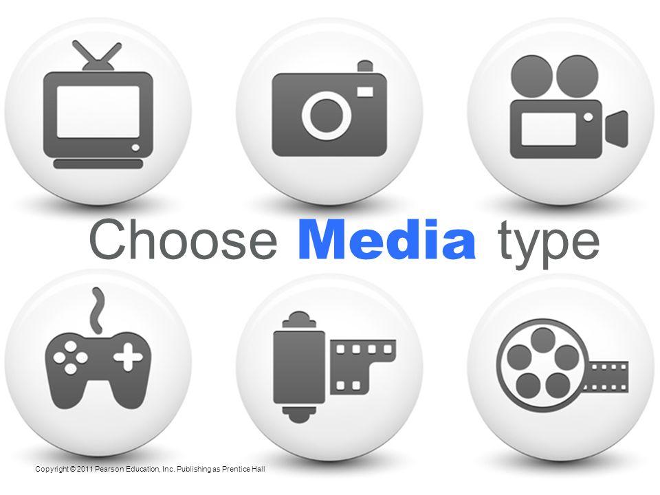 Choose Media type Copyright © 2011 Pearson Education, Inc. Publishing as Prentice Hall