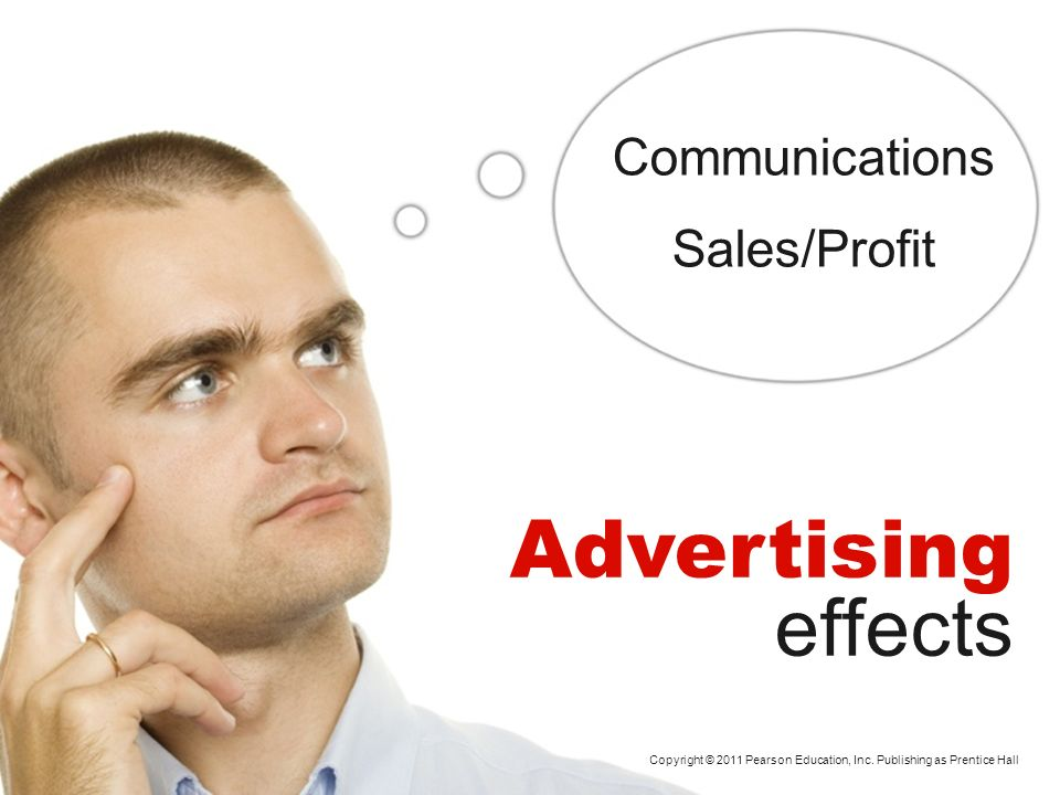 Copyright © 2011 Pearson Education, Inc. Publishing as Prentice Hall Advertising effects Communications Sales/Profit