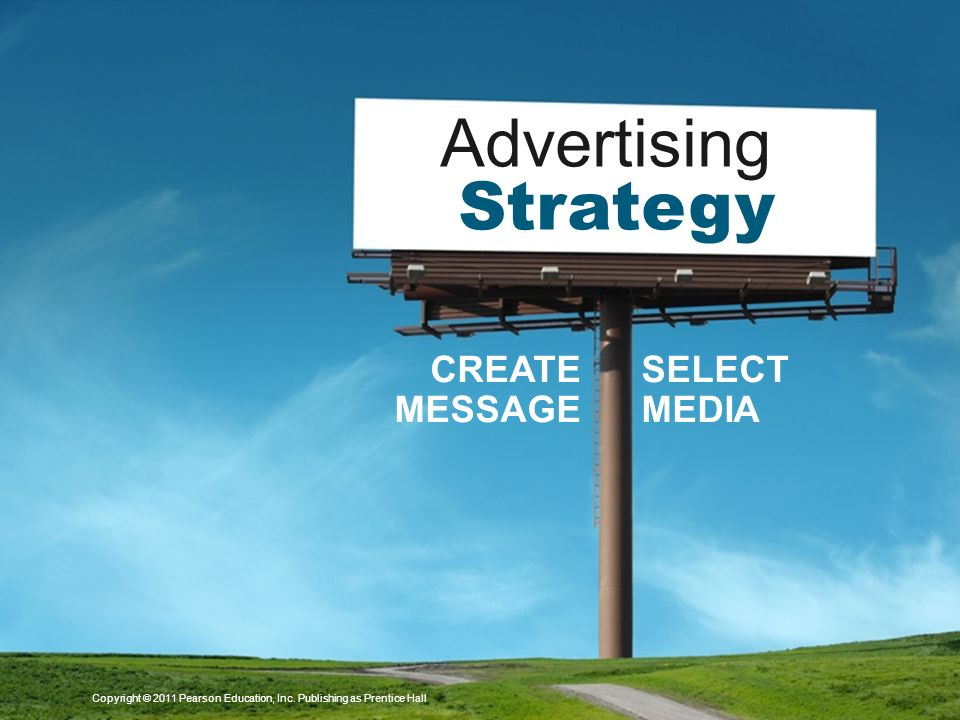 Copyright © 2011 Pearson Education, Inc. Publishing as Prentice Hall Advertising Strategy CREATE MESSAGE SELECT MEDIA