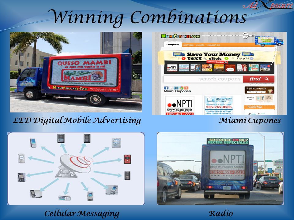 LED Digital Mobile Advertising Miami Cupones Cellular MessagingRadio Winning Combinations