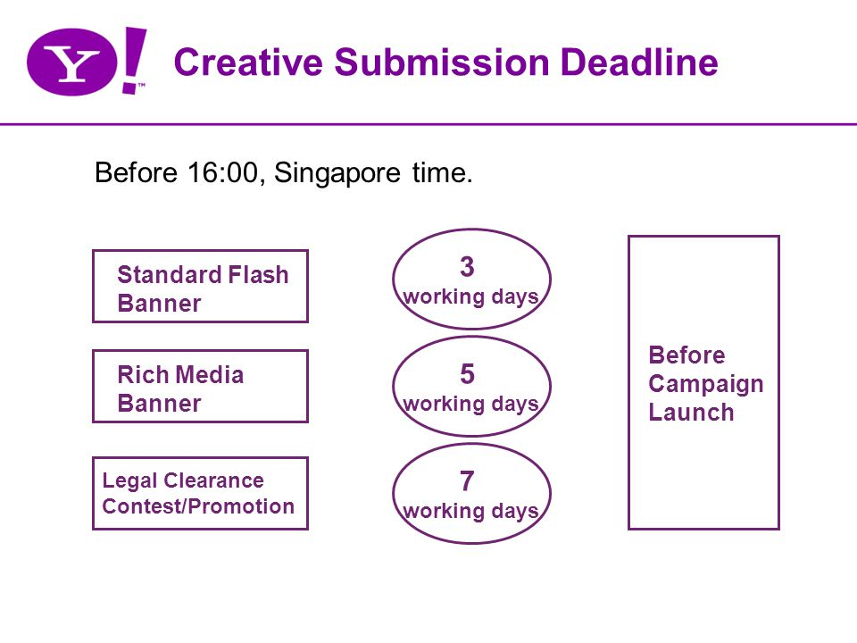 Creative Submission Deadline Before 16:00, Singapore time.