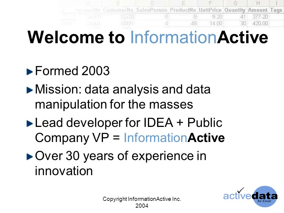 Copyright InformationActive Inc.2004 ActiveData in the Market Where does ActiveData fit.