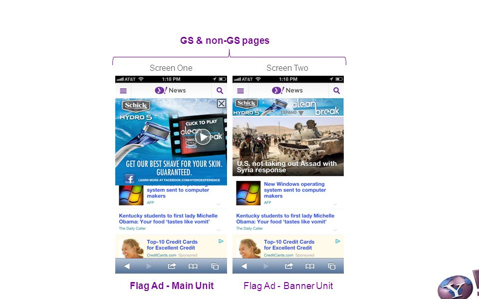 Screen OneScreen Two GS & non-GS pages Flag Ad - Main UnitFlag Ad - Banner Unit