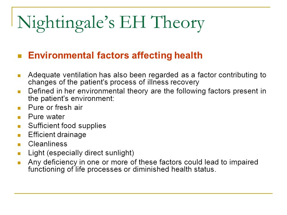 Nightingales EH Theory Environmental factors affecting health Adequate ventilation has also been regarded as a factor contributing to changes of the p