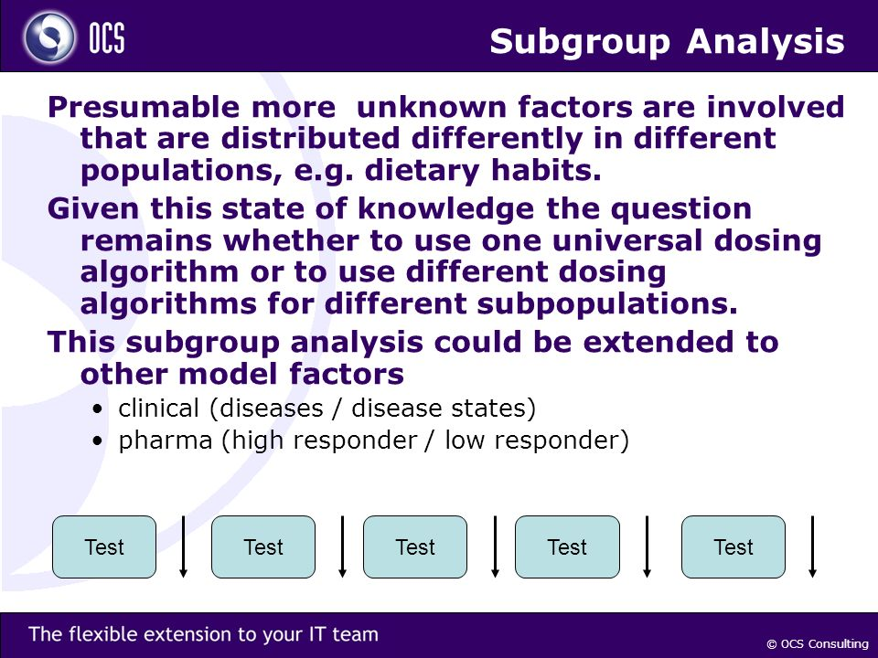 © OCS Consulting Subgroup Analysis Presumable more unknown factors are involved that are distributed differently in different populations, e.g.