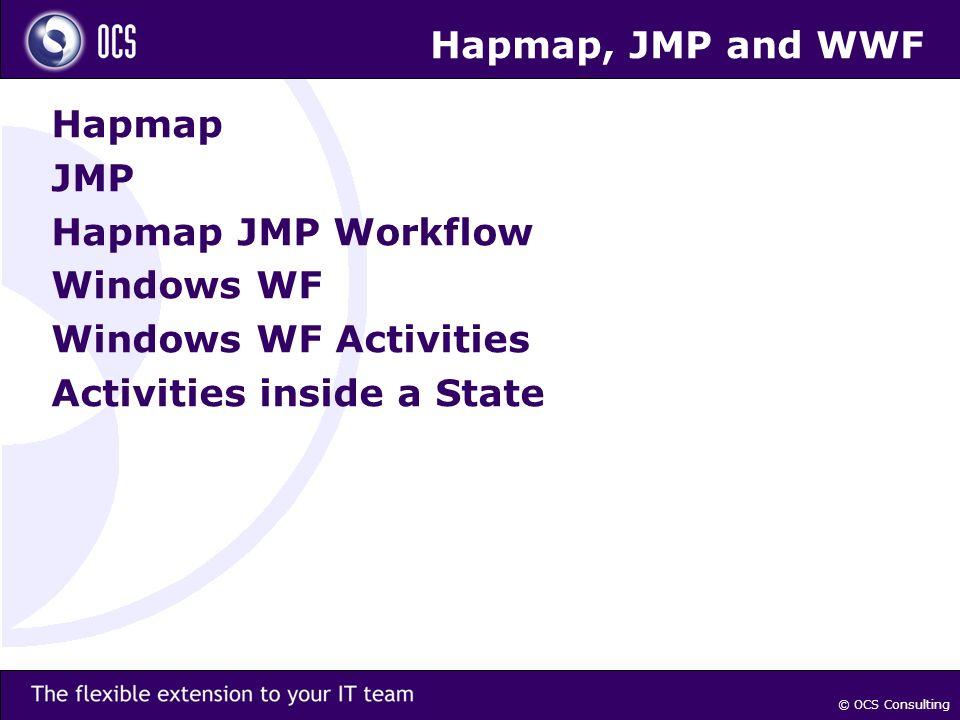 © OCS Consulting Hapmap, JMP and WWF Hapmap JMP Hapmap JMP Workflow Windows WF Windows WF Activities Activities inside a State