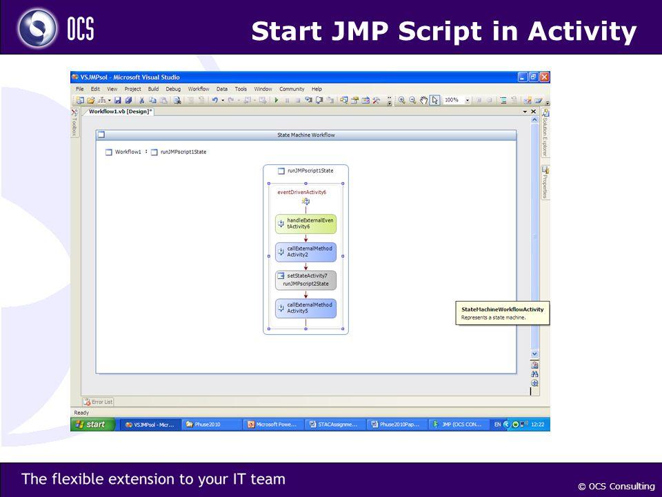 © OCS Consulting Start JMP Script in Activity