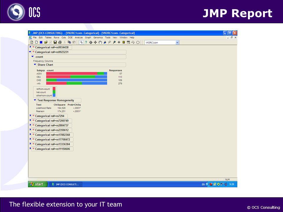 © OCS Consulting JMP Report