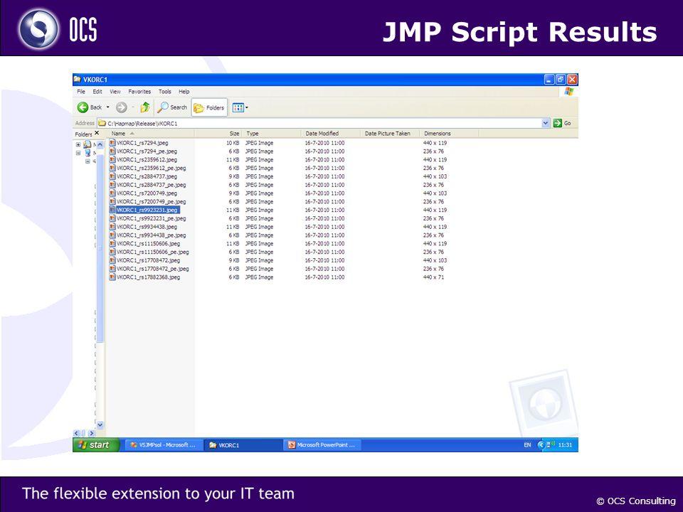 © OCS Consulting JMP Script Results