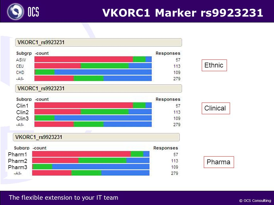 © OCS Consulting VKORC1 Marker rs9923231 Clin1 Clin2 Clin3 Pharm1 Pharm2 Pharm3 Ethnic Pharma Clinical