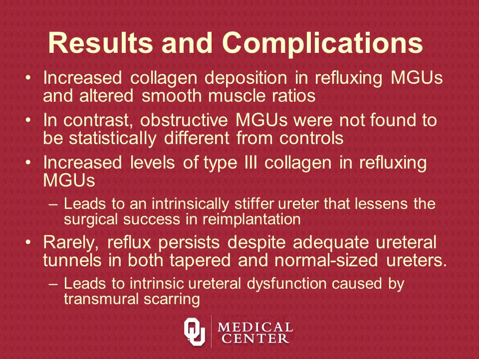Results and Complications Increased collagen deposition in refluxing MGUs and altered smooth muscle ratios In contrast, obstructive MGUs were not foun