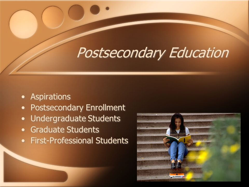 Postsecondary Education Aspirations Postsecondary Enrollment Undergraduate Students Graduate Students First-Professional Students Aspirations Postsecondary Enrollment Undergraduate Students Graduate Students First-Professional Students