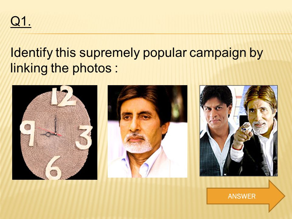 Q1. Identify this supremely popular campaign by linking the photos : ANSWER