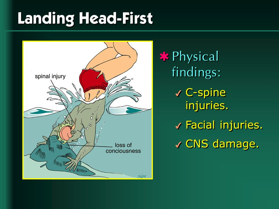 Landing Head-First Physical findings: 4 C-spine injuries. 4 Facial injuries. 4 CNS damage. Physical findings: 4 C-spine injuries. 4 Facial injuries. 4