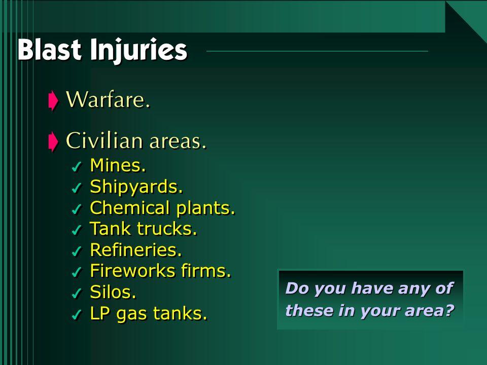 Blast Injuries Warfare. Civilian areas. 4 Mines. 4 Shipyards. 4 Chemical plants. 4 Tank trucks. 4 Refineries. 4 Fireworks firms. 4 Silos. 4 LP gas tan