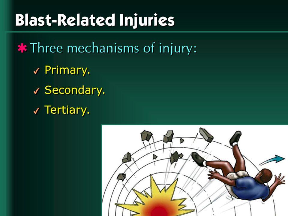 Blast-Related Injuries Three mechanisms of injury: 4 Primary. 4 Secondary. 4 Tertiary. Three mechanisms of injury: 4 Primary. 4 Secondary. 4 Tertiary.