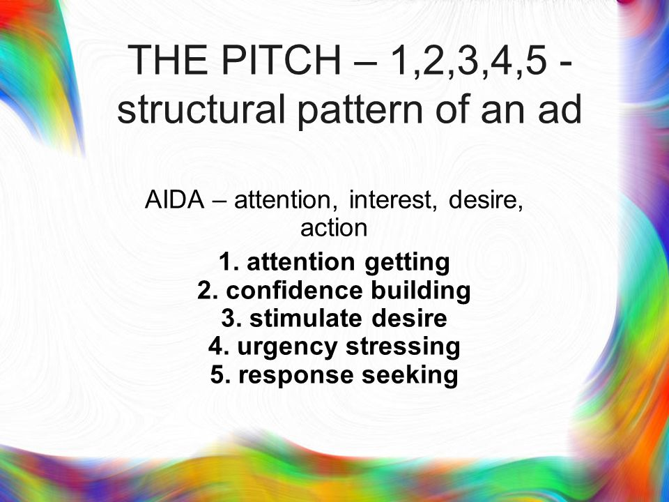 PART II PITCH – STRUCTURAL PATTERN OF AN AD (attention, confidence, response etc.) NEEDS HIERARCHY AD CONSTRUCTION MODE (MUSIC AND LANGUAGE)