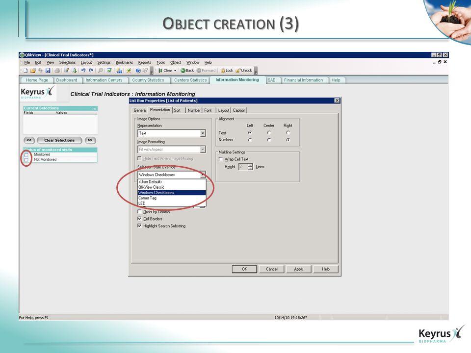 O BJECT CREATION (3)