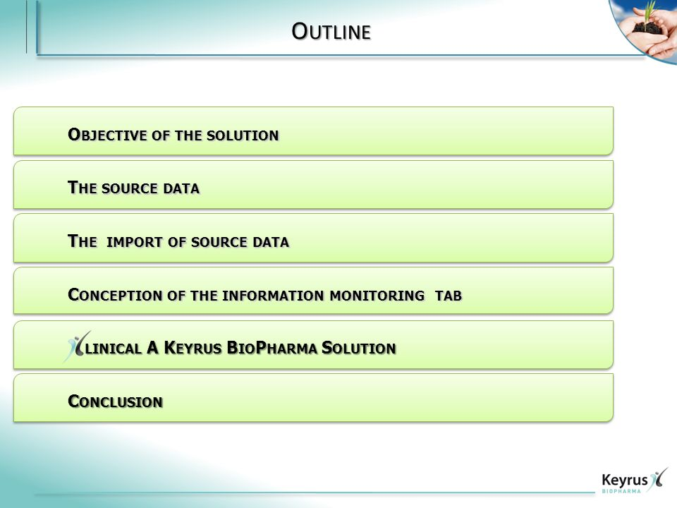 O UTLINE O BJECTIVE OF THE SOLUTION T HE SOURCE DATA T HE IMPORT OF SOURCE DATA C ONCEPTION OF THE INFORMATION MONITORING TAB C ONCLUSION LINICAL A K EYRUS B IO P HARMA S OLUTION