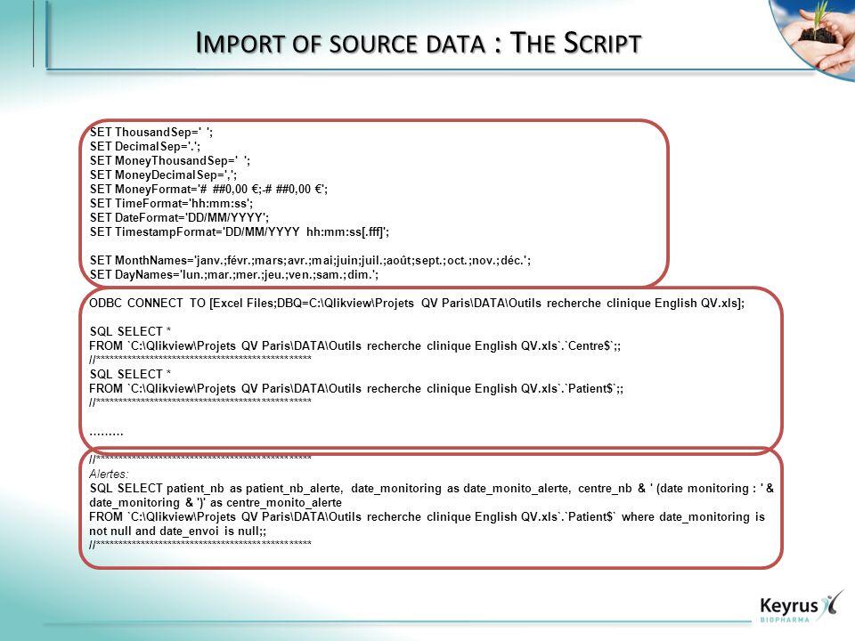 I MPORT OF SOURCE DATA : T HE S CRIPT SET ThousandSep= ; SET DecimalSep= . ; SET MoneyThousandSep= ; SET MoneyDecimalSep= , ; SET MoneyFormat= # ##0,00 ;-# ##0,00 ; SET TimeFormat= hh:mm:ss ; SET DateFormat= DD/MM/YYYY ; SET TimestampFormat= DD/MM/YYYY hh:mm:ss[.fff] ; SET MonthNames= janv.;févr.;mars;avr.;mai;juin;juil.;août;sept.;oct.;nov.;déc. ; SET DayNames= lun.;mar.;mer.;jeu.;ven.;sam.;dim. ; ODBC CONNECT TO [Excel Files;DBQ=C:\Qlikview\Projets QV Paris\DATA\Outils recherche clinique English QV.xls]; SQL SELECT * FROM `C:\Qlikview\Projets QV Paris\DATA\Outils recherche clinique English QV.xls`.`Centre$`;; //************************************************ SQL SELECT * FROM `C:\Qlikview\Projets QV Paris\DATA\Outils recherche clinique English QV.xls`.`Patient$`;; //************************************************ ……… //************************************************ Alertes: SQL SELECT patient_nb as patient_nb_alerte, date_monitoring as date_monito_alerte, centre_nb & (date monitoring : & date_monitoring & ) as centre_monito_alerte FROM `C:\Qlikview\Projets QV Paris\DATA\Outils recherche clinique English QV.xls`.`Patient$` where date_monitoring is not null and date_envoi is null;; //************************************************