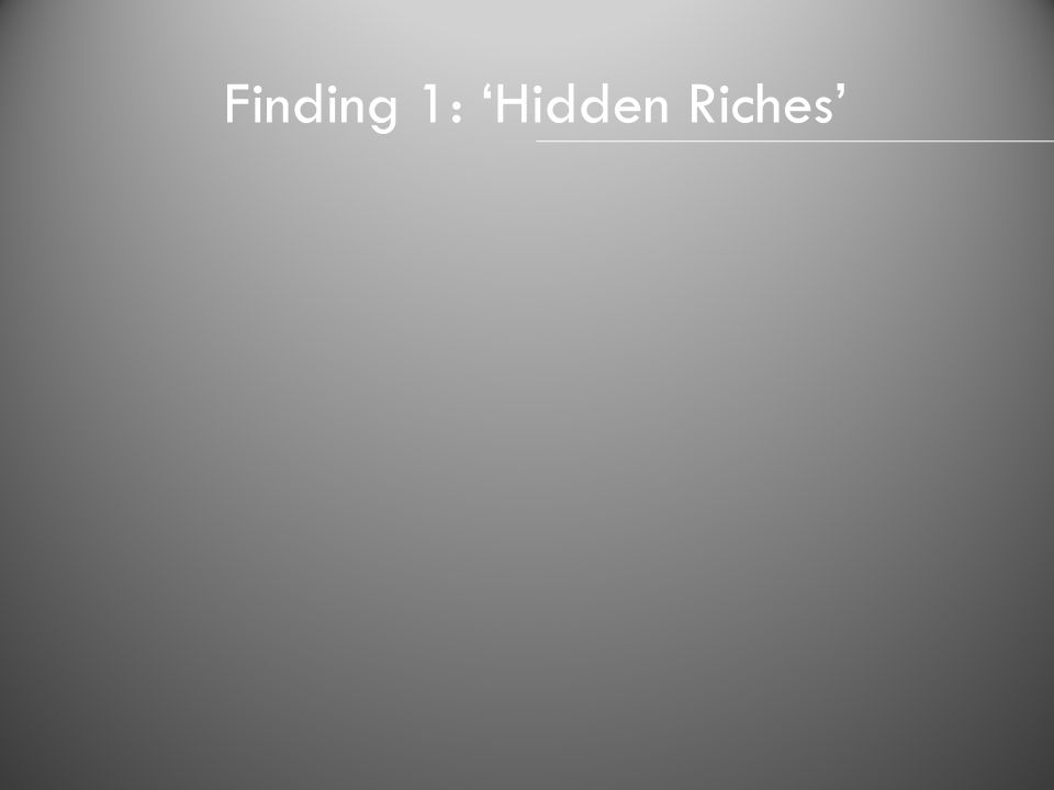Finding 1: Hidden Riches