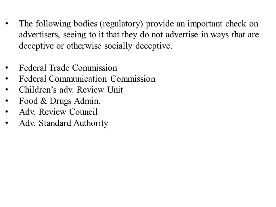 1)Federal Trade Commission Independent agency of US Govt.