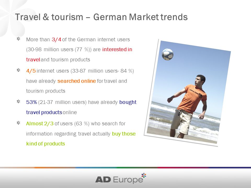 Travel & tourism – German Market trends More than 3/4 of the German internet users (30-98 million users (77 %)) are interested in travel and tourism products 4/5 internet users (33-87 million users- 84 %) have already searched online for travel and tourism products 53% (21-37 million users) have already bought travel products online Almost 2/3 of users (63 %) who search for information regarding travel actually buy those kind of products