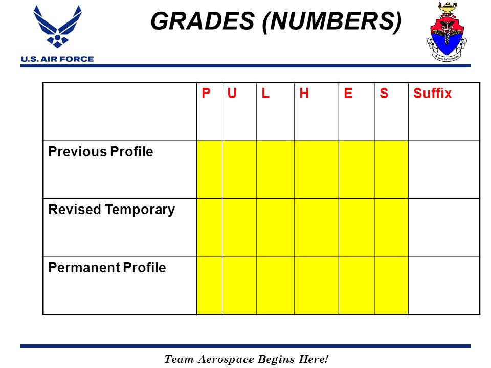 Team Aerospace Begins Here! GRADES (NUMBERS) PULHESSuffix Previous Profile Revised Temporary Permanent Profile