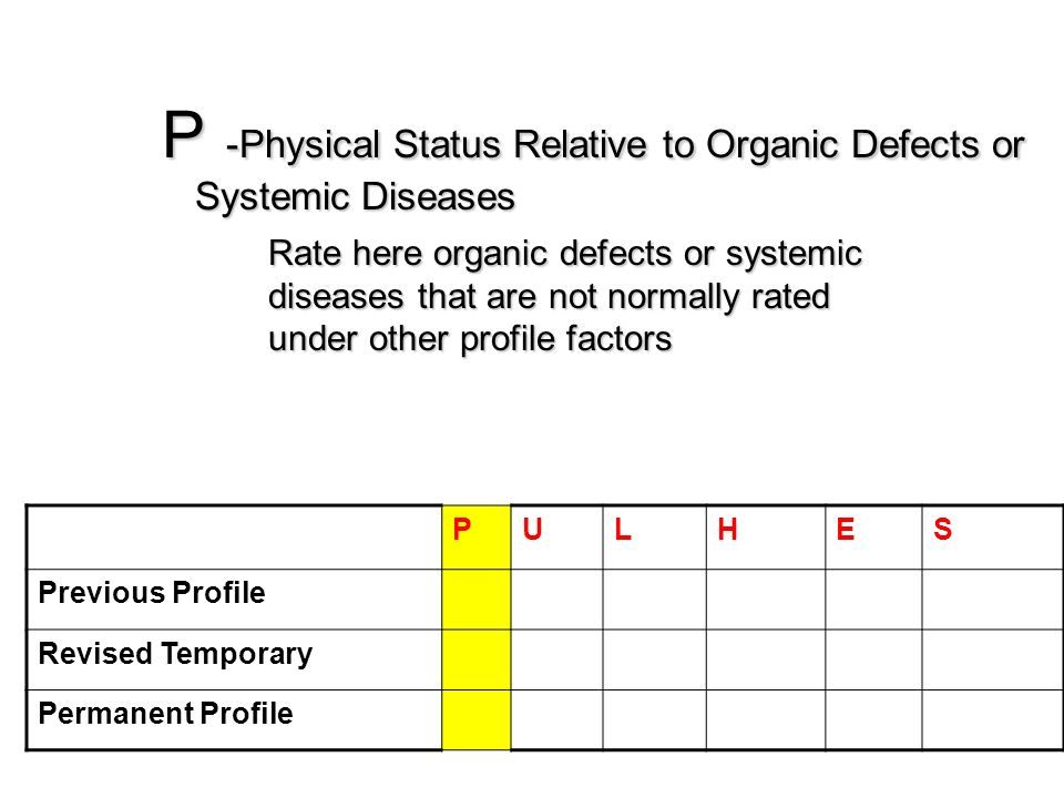 P -Physical Status Relative to Organic Defects or Systemic Diseases Rate here organic defects or systemic diseases that are not normally rated under o