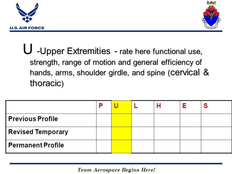 Team Aerospace Begins Here! U -Upper Extremities - rate here functional use, strength, range of motion and general efficiency of hands, arms, shoulder