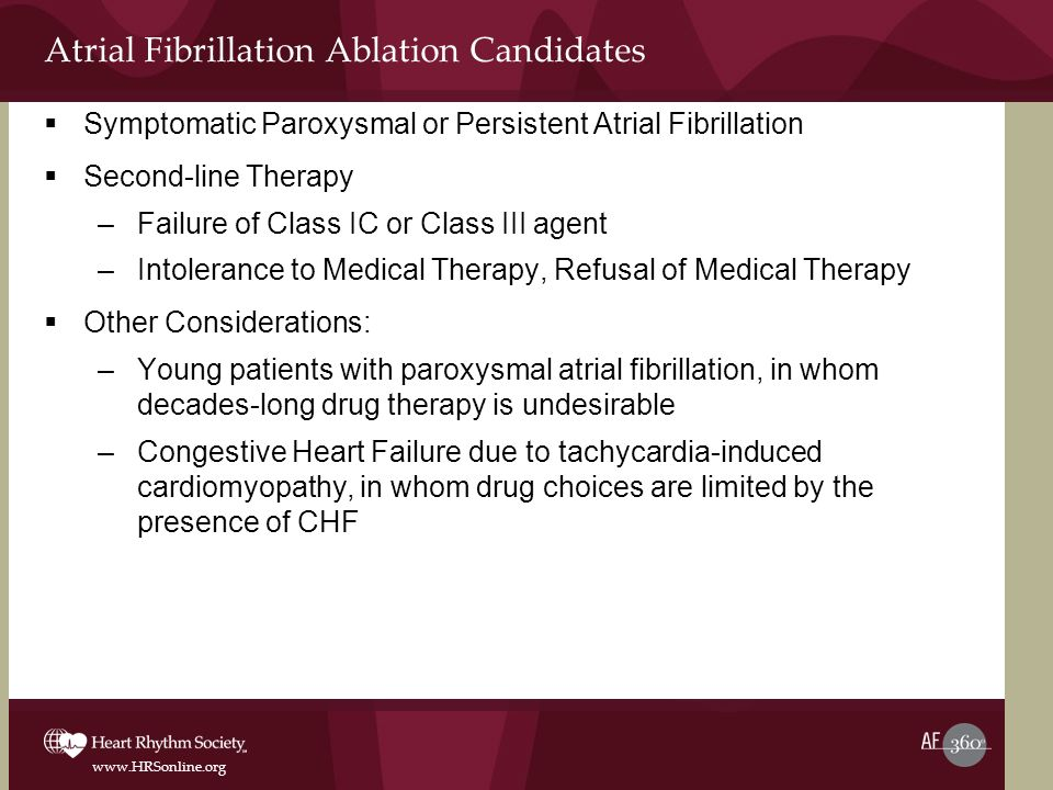 www.HRSonline.org Atrial Fibrillation Ablation Candidates Symptomatic Paroxysmal or Persistent Atrial Fibrillation Second-line Therapy –Failure of Cla