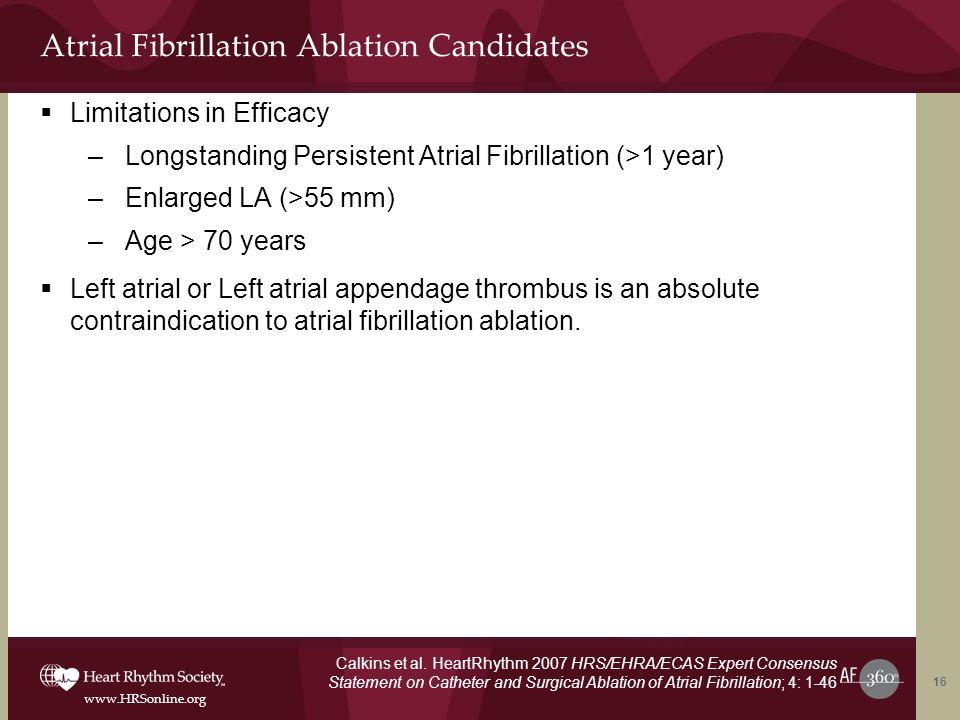 www.HRSonline.org Atrial Fibrillation Ablation Candidates Limitations in Efficacy –Longstanding Persistent Atrial Fibrillation (>1 year) –Enlarged LA