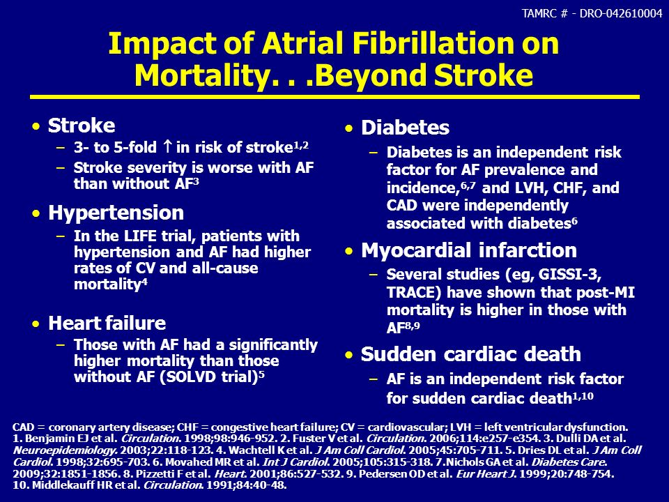 TAMRC # - DRO-042610004 Impact of Atrial Fibrillation on Mortality...Beyond Stroke Stroke –3- to 5-fold in risk of stroke 1,2 –Stroke severity is wors