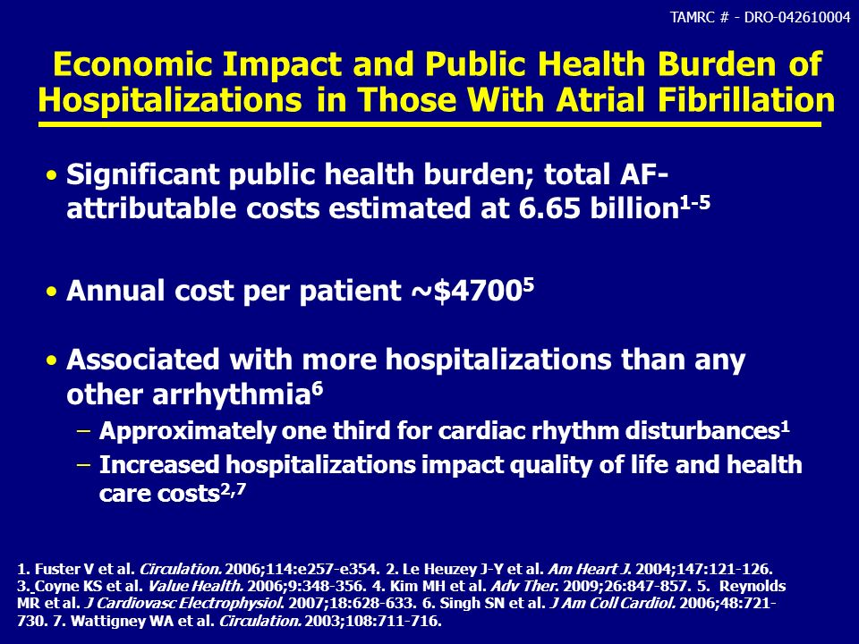 TAMRC # - DRO-042610004 Economic Impact and Public Health Burden of Hospitalizations in Those With Atrial Fibrillation Significant public health burde