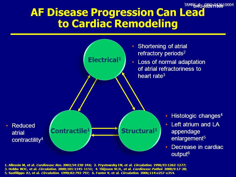 TAMRC # - DRO-042610004 AF Disease Progression Can Lead to Cardiac Remodeling 1. Allessie M, et al. Cardiovasc Res. 2002;54:230-246; 2. Prystowsky EN,