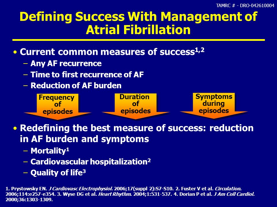 TAMRC # - DRO-042610004 Defining Success With Management of Atrial Fibrillation Current common measures of success 1,2 –Any AF recurrence –Time to fir