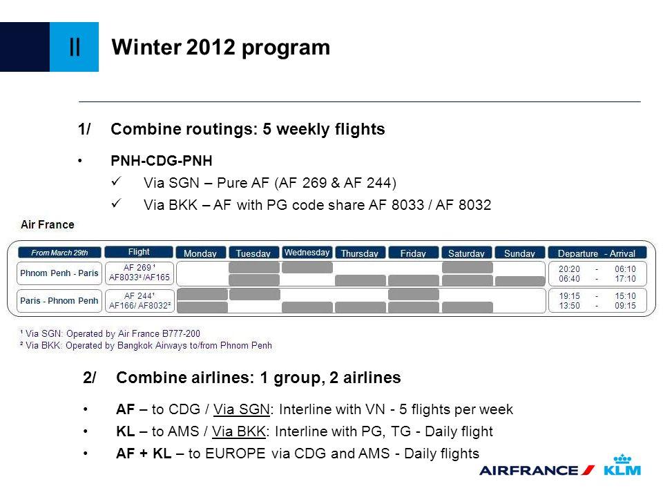 PNH-CDG-PNH Via SGN – Pure AF (AF 269 & AF 244) Via BKK – AF with PG code share AF 8033 / AF 8032 AF – to CDG / Via SGN: Interline with VN - 5 flights