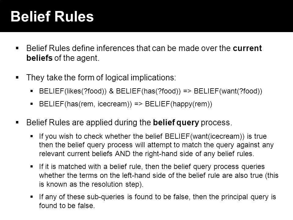 2003 © ChangingWorlds Ltd. Belief Rules Belief Rules define inferences that can be made over the current beliefs of the agent. They take the form of l