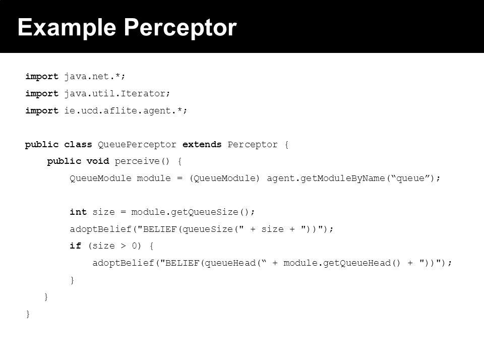 2003 © ChangingWorlds Ltd. Example Perceptor import java.net.*; import java.util.Iterator; import ie.ucd.aflite.agent.*; public class QueuePerceptor e